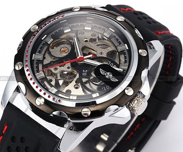 Genuine watch Tourbillon sports hollow out full-automatic mechanical watch mens watch rubber belt classic retro mens Watch