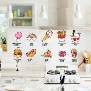 创意卡通厨房橱柜贴画装饰冰箱贴纸食物奶茶店餐厅可移除墙贴自粘