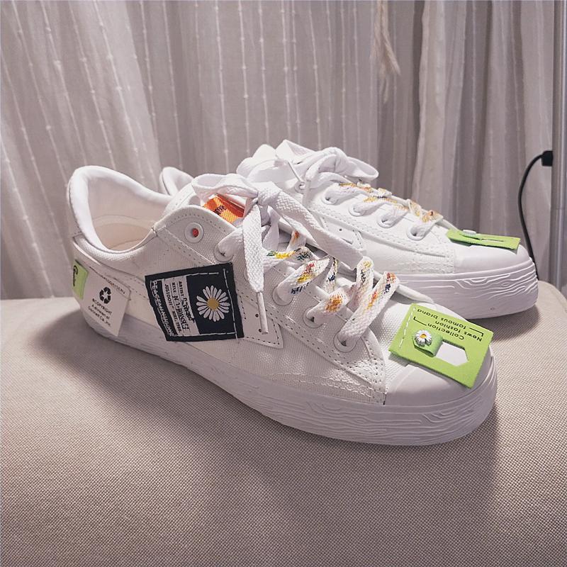 回力原创爆改GD合作款雏菊款OW联名鞋男女款帆布鞋嘻哈个性小白鞋