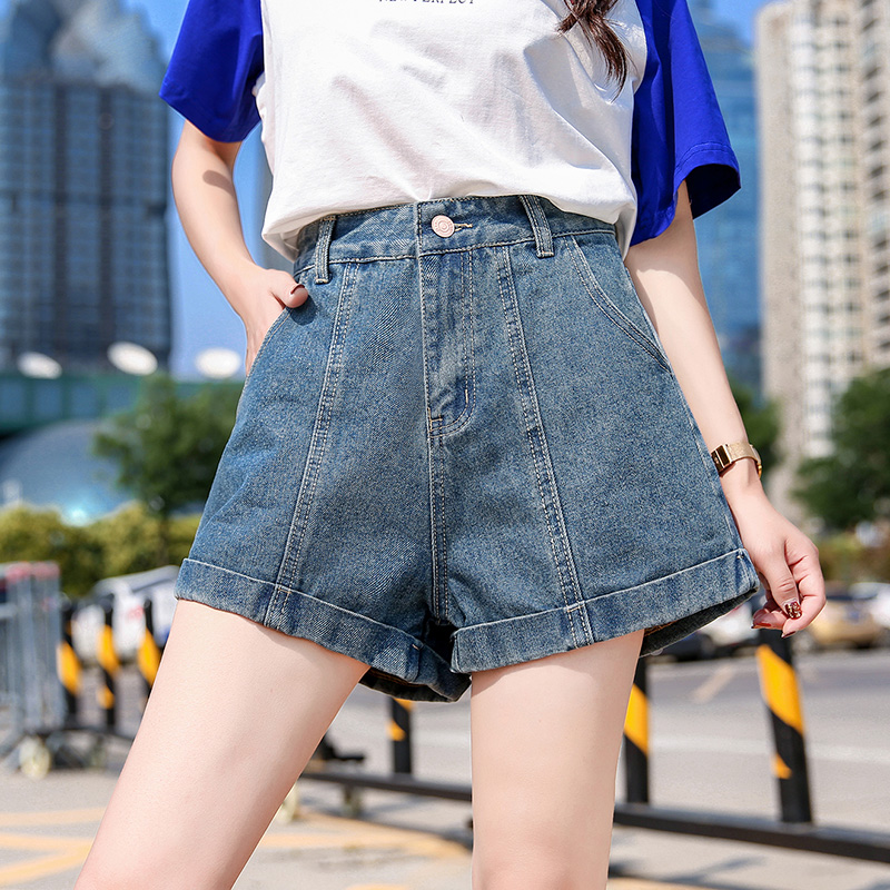 Break size special Jeans Shorts womens summer new loose net red same style Hong Kong style retro shorts high waist A-line hot pants