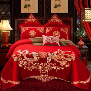 纯棉婚庆四件套大红色刺绣结婚床品新婚六八十件套全棉被套1.8m床