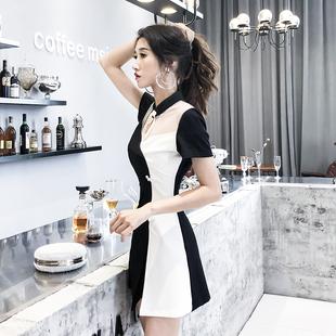 职业套装裙子女夏季新款旗袍改良御姐显瘦短裤减龄洋气网红两件套