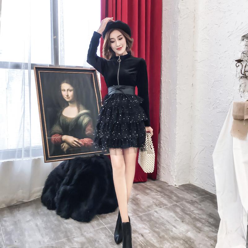 秋装2019年新款女金丝绒蓬蓬裙子限时抢购