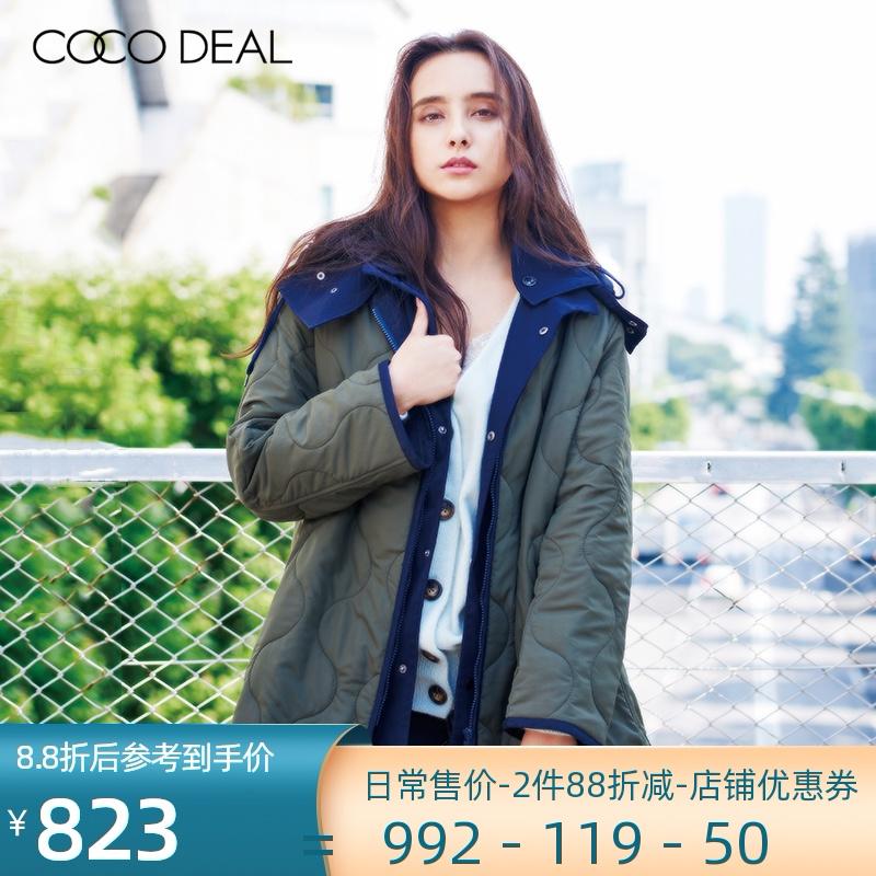 COCODEAL日系女装秋冬连帽可脱卸内胆中长款棉服大衣外套38619248