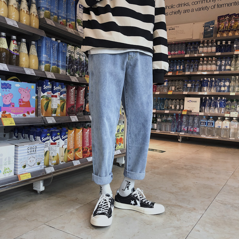 Korean jeans for boys in spring and summer