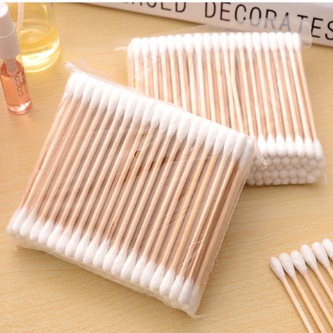 1000支10包优质卫生棉签双头木棒杆棉签棉棒实用耳勺