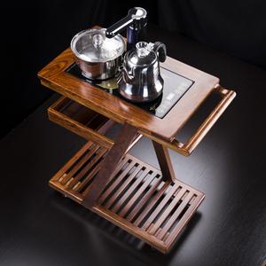 汇享 花梨茶水柜实木茶桌边柜小茶几电茶炉支架茶车茶台茶盘茶海