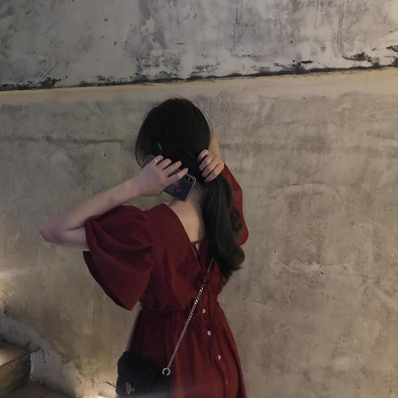 kumayes2020夏季新款气质短袖露背连衣裙韩版方领收腰显瘦短裙女图片