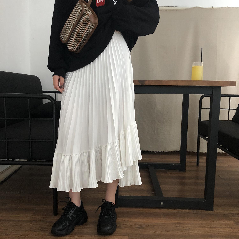 kumayes韩版中长款高腰半身裙女2019秋新款宽松裙子不规则百褶裙
