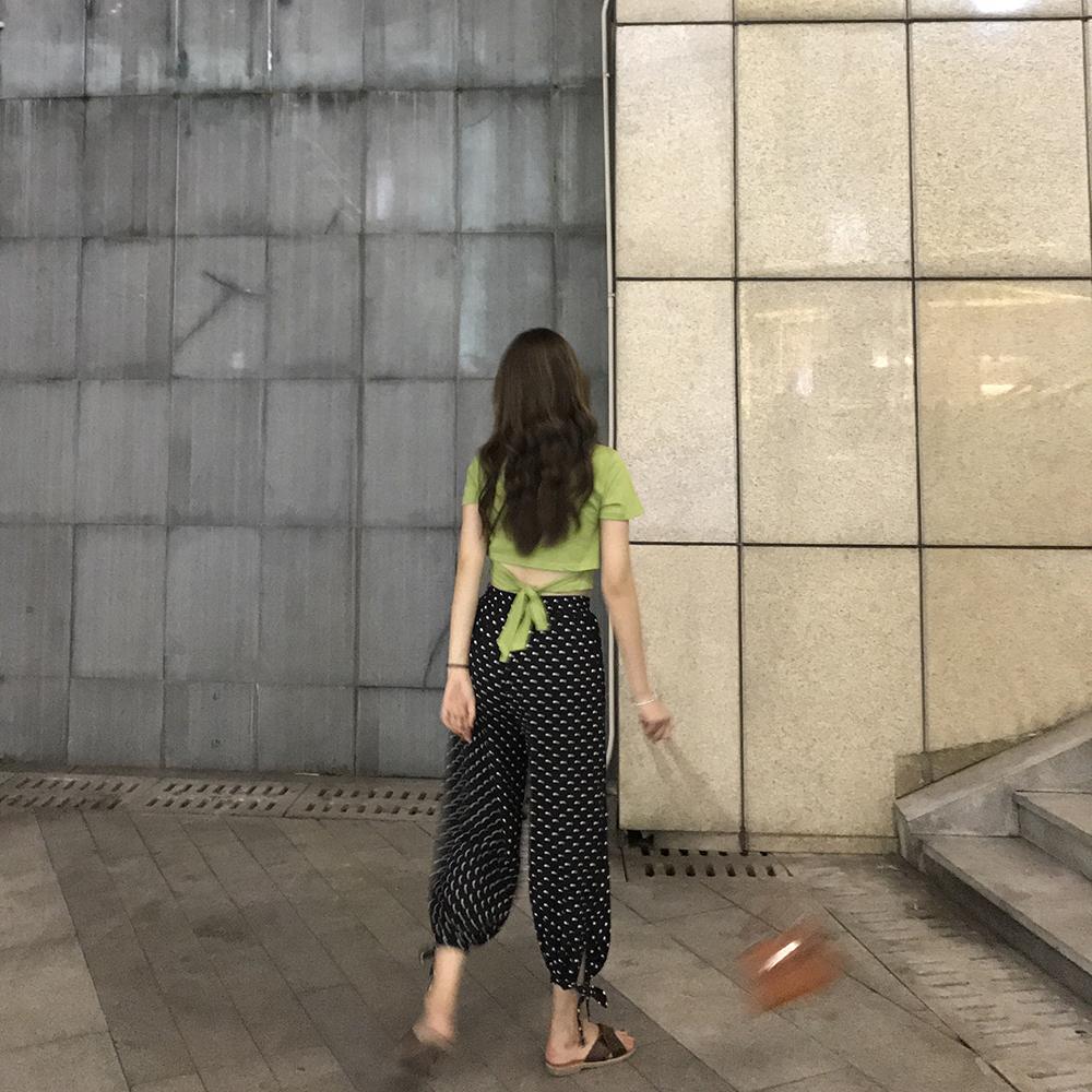 kumayes 夏季小格子波点绑带裤脚薄款灯笼裤休闲松紧腰九分裤女裤
