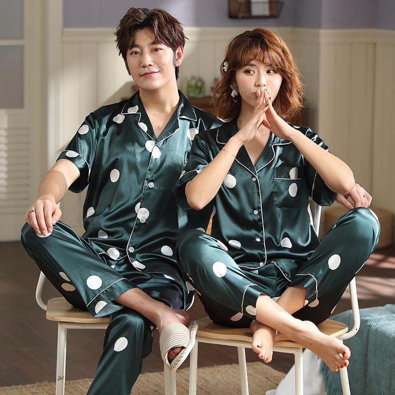 氷糸のパジャマの女性の夏のシルクのカップルの薄いパジャマの春秋円点の半袖のズボンの家居服の2つのセット
