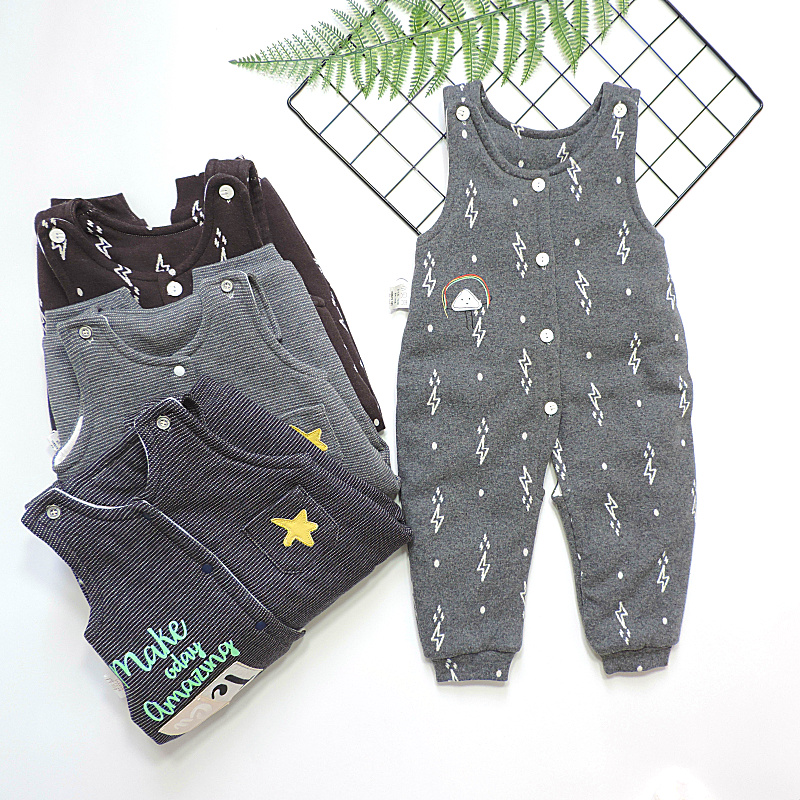 Broken size clear goods small shell fashion clip cotton strap pants baby autumn and winter knitting cotton thin cotton open crotch Jumpsuit