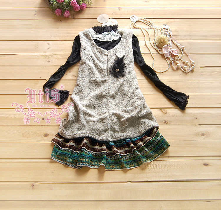 65 yuan package mail spring Korean lady Round Neck Chiffon swing sleeveless vest skirt / tweed dress / with Brooch