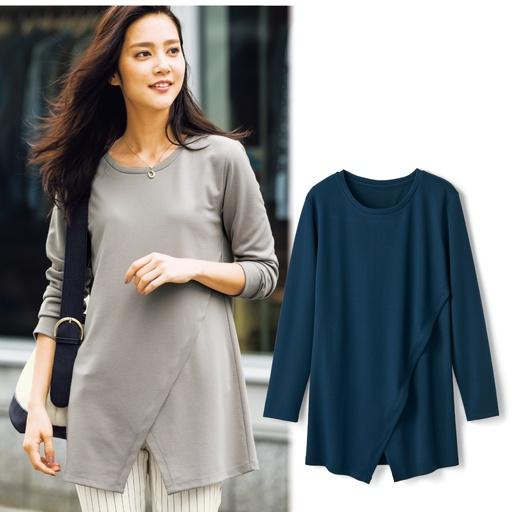 18春日本代购女装简约圆领下摆不对称套头T恤打底衫有大码S-3L
