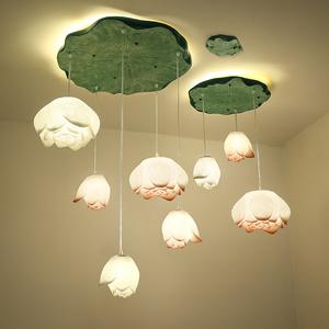 创意禅意新中式荷花个性客厅吊灯