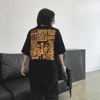 chic夏季美伢美式港风潮牌嘻哈情侣T恤bf宽松涂鸦印花短袖上衣女