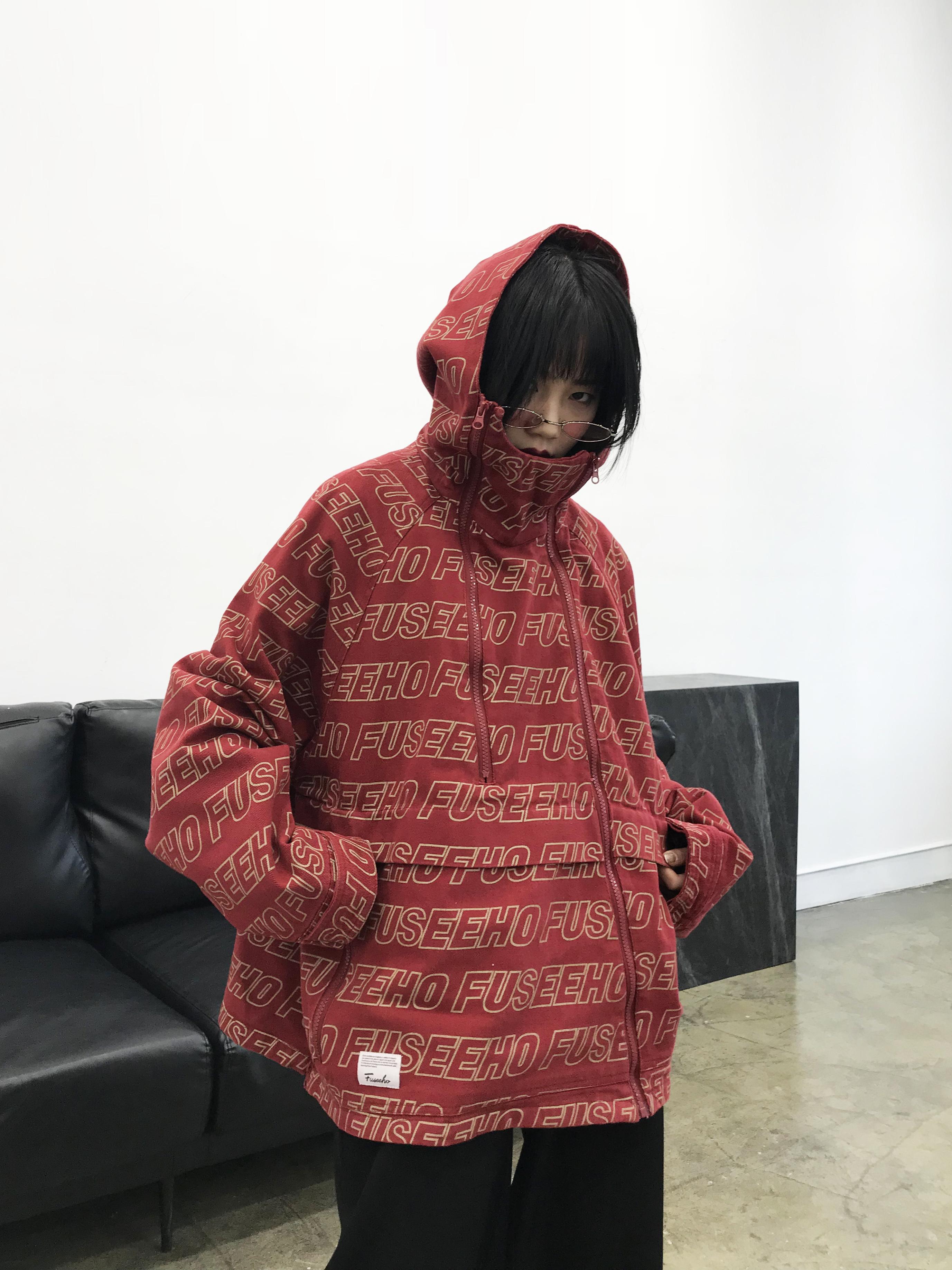 chic短外套春装港风情侣bf夹克oversize美式宽松印花工装外套女潮