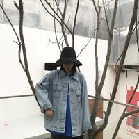 chic美伢港风街头夹克春bf情侣大版宽松复古原宿潮流牛仔外套女男