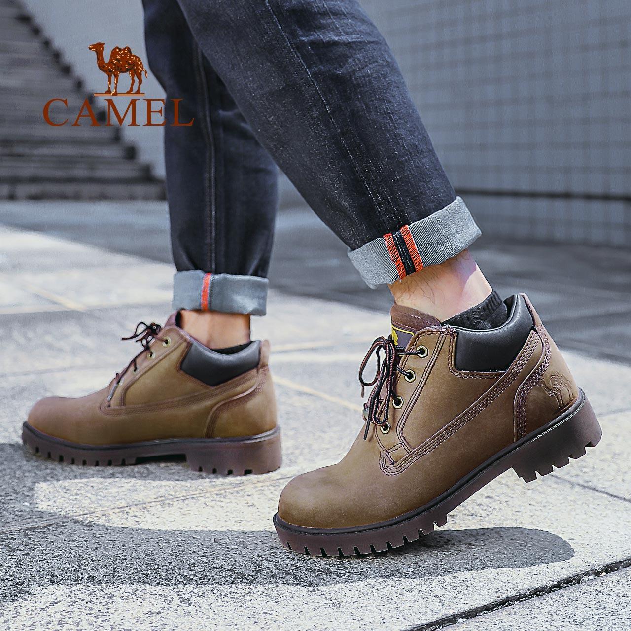 骆驼户外休闲鞋男士秋冬防滑耐磨头层牛皮中帮工装鞋大黄靴CAMEL
