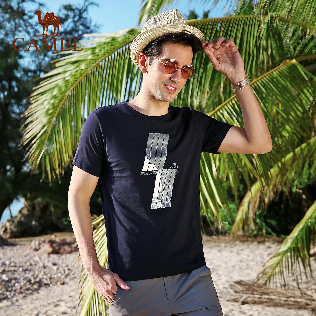 CAMEL骆驼户外休闲T恤男款 春夏圆领吸湿透气舒适短袖男休闲上衣