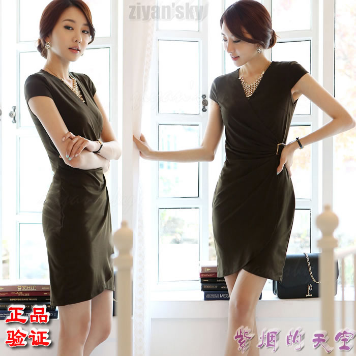 South Korea / imported authentic womens clothing summer new bud A-line skirt is thin, hip wrapped one-step short skirt slim dress