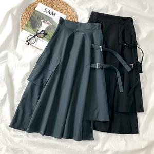 日式工装裙子春秋学生高腰中长款冷淡风不规则a字半身裙女夏2020
