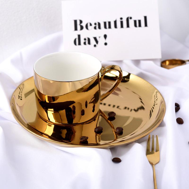 小西家 北欧陶瓷咖啡杯 电镀马克杯早餐水杯 点心盘托盘装饰盘