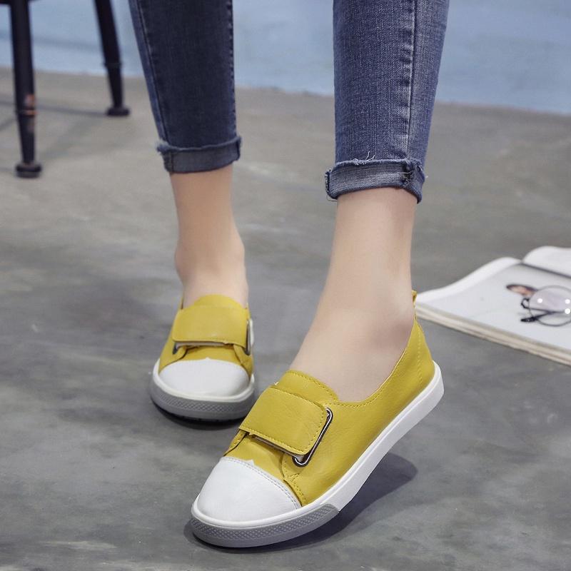 009浅口单鞋女新款夏季韩版粘扣小白鞋女鞋子时尚百搭学生平底鞋