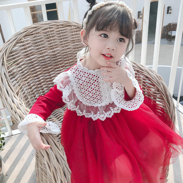 2020 spring new girls lace dress South Korea childrens red dress childrens fashion