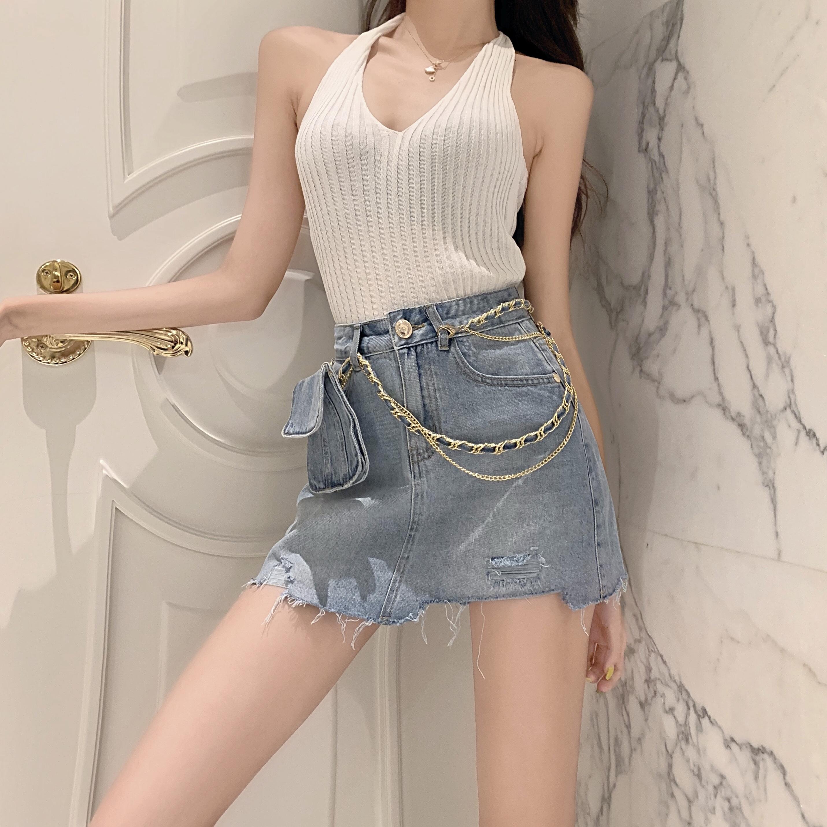 实拍实价-控52 高腰牛仔短裤a字半身裙毛边腰包破洞短裙裤裙
