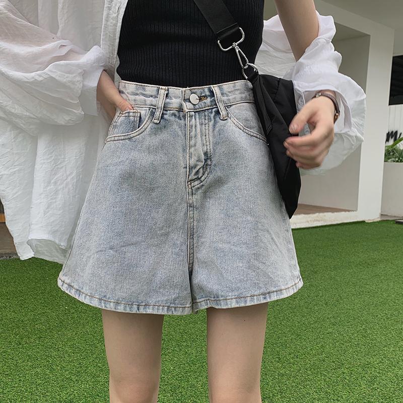 实拍实价-控35 韩版宽松百搭水洗a字牛仔短裤高腰阔腿裤女