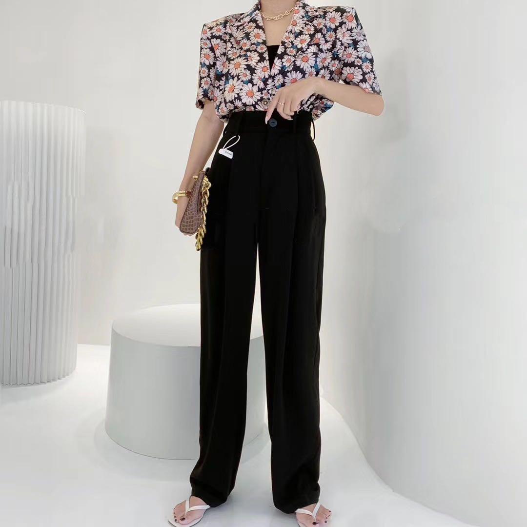 TH阿涵 超热爆款网红西装纯色多色高腰显瘦垂感休闲雪纺阔腿裤 女