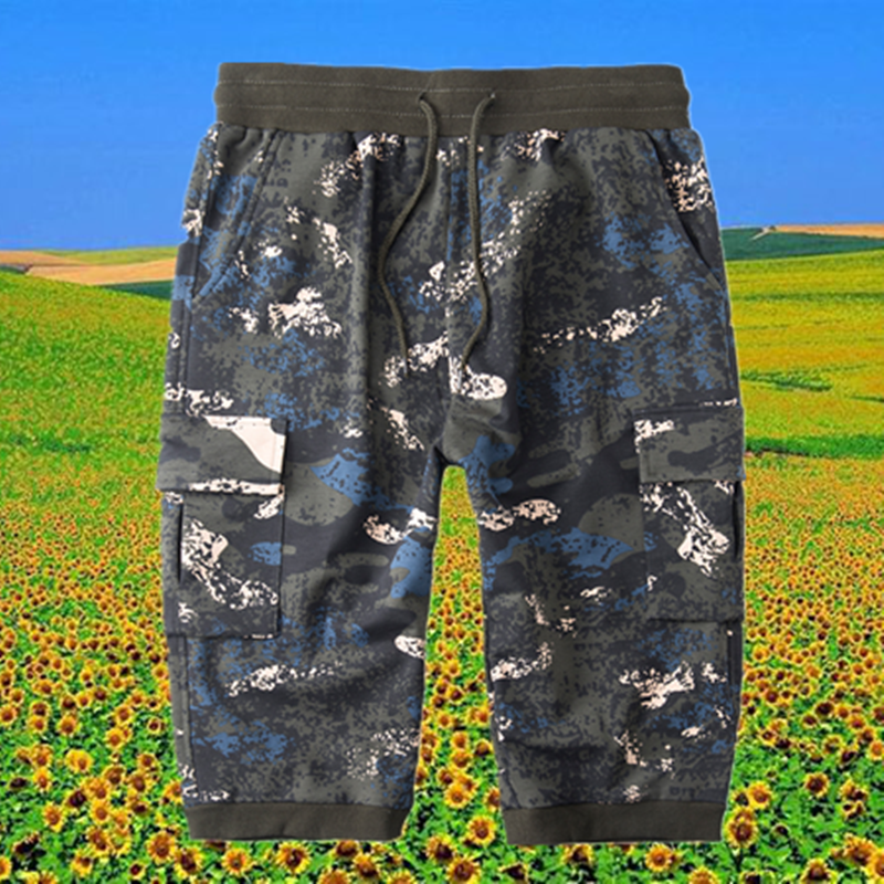 Summer camouflage shorts mens casual overalls plus large size 200kg Youth Travel Capris