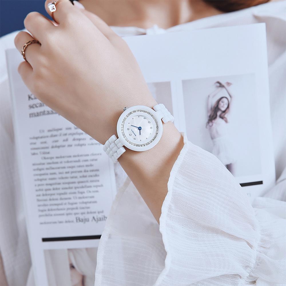 日本NAKZEN手表女白色陶瓷镶钻学生可爱清新韩版石英表防水SS1011