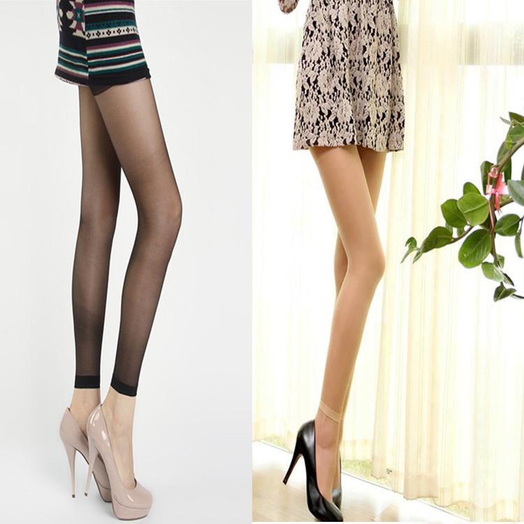 性感显瘦黑色肤色九分丝袜 春夏超薄免脱开档丝袜连裤袜