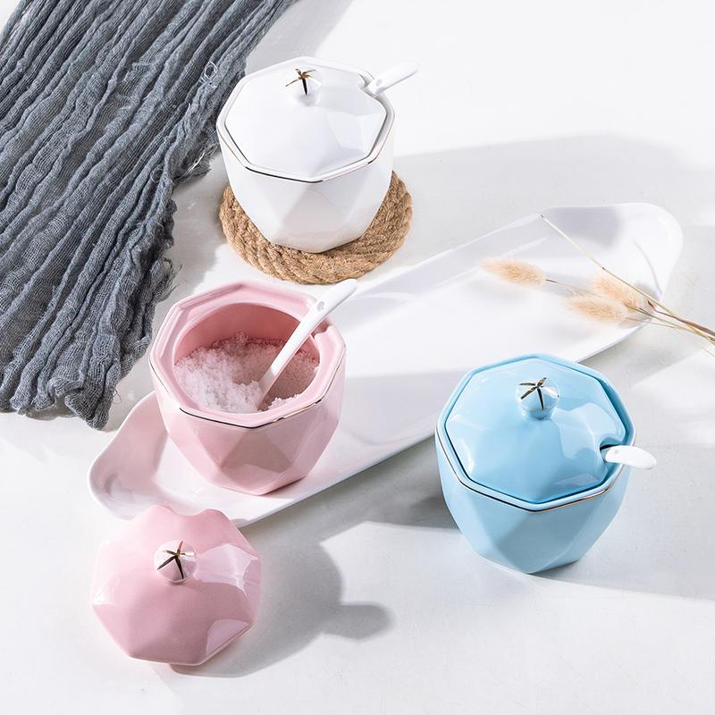 调味罐陶瓷四件套家用套装北欧简约轻奢厨房用品盐罐塘罐味精罐
