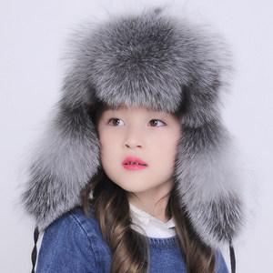 儿童狐狸毛帽子男女秋冬皮草帽子新款小孩护耳保暖加厚雷锋帽韩版