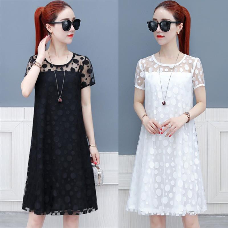 夏季新款时尚女装大码宽松气质显瘦中长款蕾丝裙雪纺连衣裙c2019