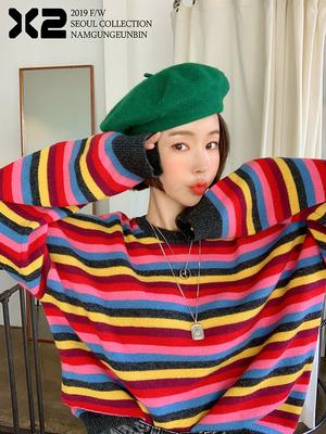 女神抢新 P家 韩国X2ins彩虹色减龄条纹舒适宽松经典复古针织毛衣