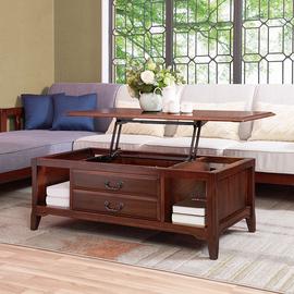 美式實木茶幾多功能升降兩用餐茶桌歐式簡約小戶型咖啡桌客廳家具圖片