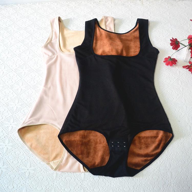 秋冬保暖连体衣女加厚加绒保暖塑身内衣三角排扣裆产后束腰瘦身衣