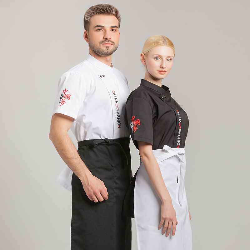 Chefs work clothes summer short sleeve uniform farmhouse restaurant back kitchen work clothes fast restaurant barbecue