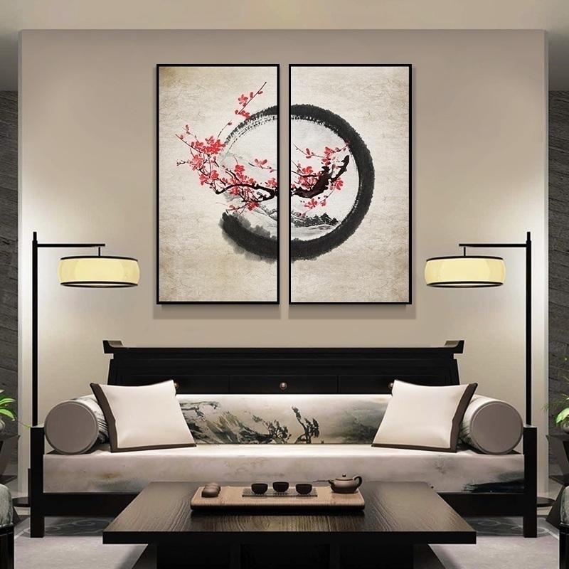 新中式客厅玄关走廊中国风餐厅壁画