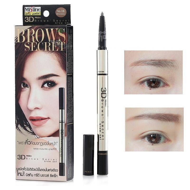 泰国正品mistine3D眉笔眉粉染眉膏三合一防水防汗不脱色自然持久图片