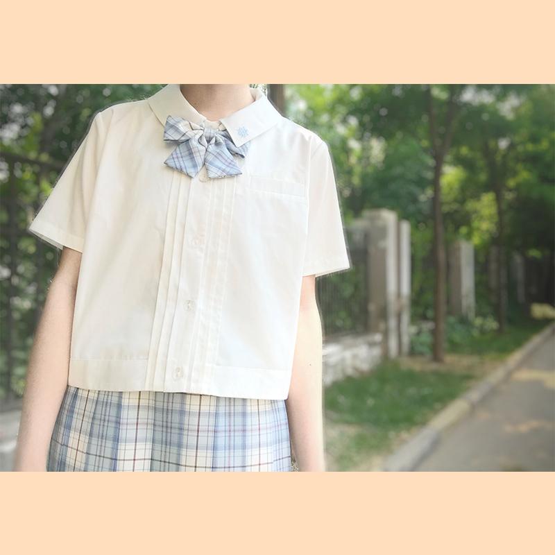 樱花家族JK制服【轻风】刺绣角襟领 jk衬衫 方领刺绣半袖白衬衫N