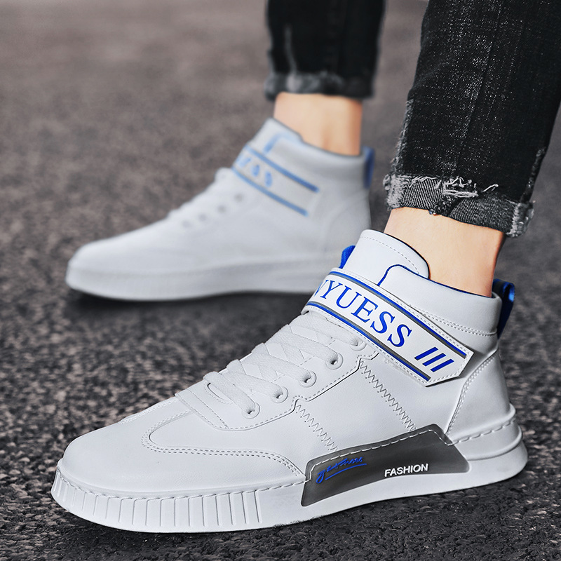 Mens shoes brand authentic high top Velcro leather small white shoes