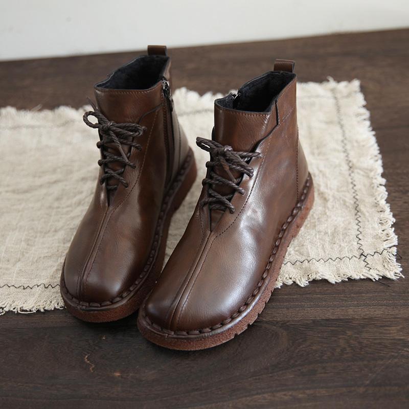 新款森系民族风软底马丁靴加绒女鞋2020秋冬文艺复古保暖系带短靴