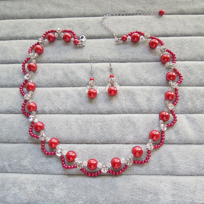 Red pearl necklace Bridal Set chain Handmade Beaded clavicle chain cheongsam dress accessories Chinese style retro accessories