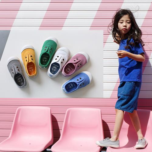 春秋款西班牙香香鞋兒童帆布鞋男童女童低幫軟底入園一腳蹬小童鞋