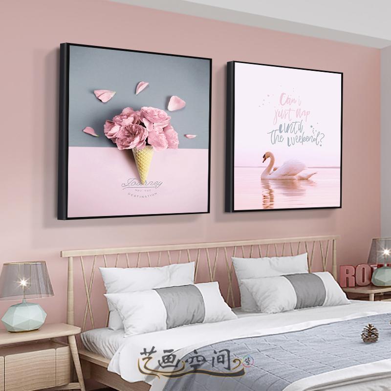 床头墙面装饰画现代简约主卧卧室双联挂画北欧温馨房间背景墙壁画
